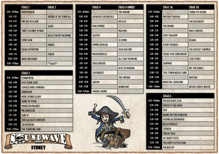 Sydney Soundwave 2011 Time table
